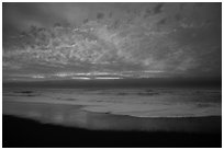 Brilliant clouds at sunset, Gold Bluffs Beach, Prairie Creek Redwoods State Park. Redwood National Park ( black and white)