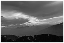 Clouds and mountain range at sunset. Sequoia National Park, California, USA. (black and white)