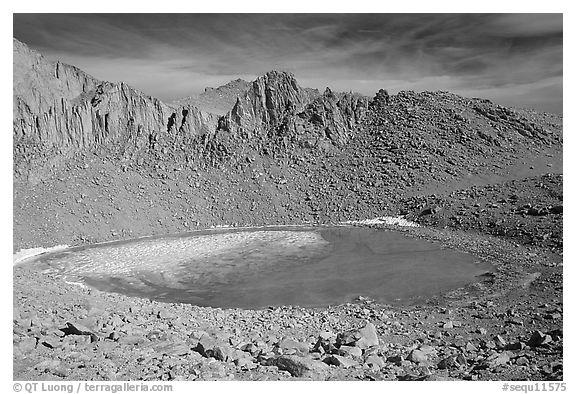 Frozen Iceberg Lake, Inyo National Forest. California, USA (black and white)