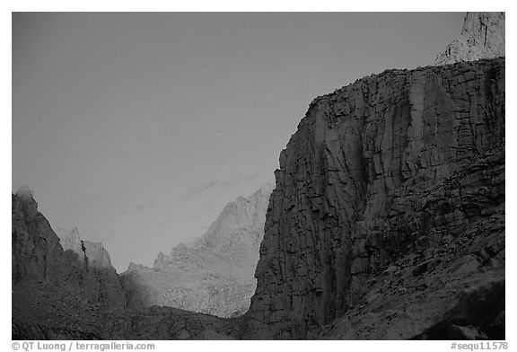 First light on Mt Whitney chain. Sequoia National Park (black and white)