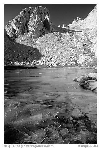 Consultation Lake in late November. Sequoia National Park (black and white)