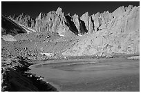 Frozen lake near Trail Camp and Mt Whitney chain. Sequoia National Park, California, USA. (black and white)