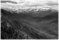 Panorama of  Western Divide from Moro Rock. Sequoia National Park, California, USA. (black and white)