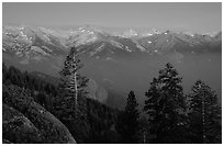 Western Divide, sunset. Sequoia National Park ( black and white)