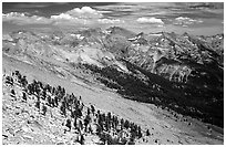 Western Divide from Alta Peak. Sequoia National Park, California, USA. (black and white)