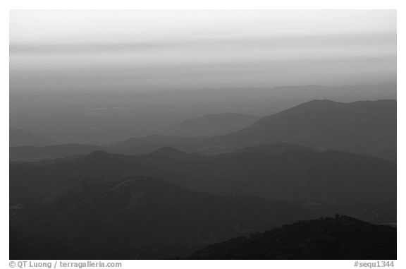Receding ridge lines of  foothills at sunset. Sequoia National Park (black and white)