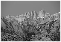 Alabama hills and Mt Whitney, dawn. Sequoia National Park, California, USA. (black and white)