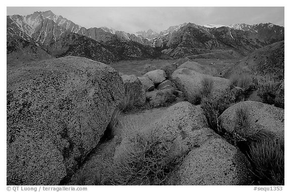 Volcanic boulders in Alabama hills and Sierras, sunrise. Sequoia National Park (black and white)