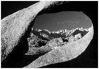 Alabama hills arch II and Sierras, early morning. Sequoia National Park, California, USA. (black and white)