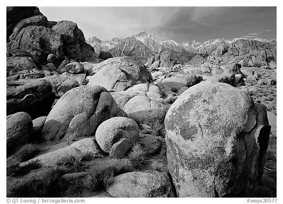 Boulders in Alabama Hills, Lone Pine Peark, and Mt Whitney. Sequoia National Park (black and white)
