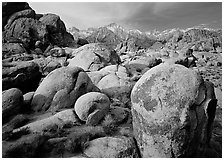 Boulders in Alabama Hills, Lone Pine Peark, and Mt Whitney. Sequoia National Park ( black and white)