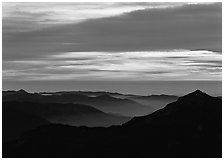Ridges and sea of clouds at sunset. Sequoia National Park, California, USA. (black and white)