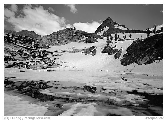 Monarch lake half-frozen in early summer. Sequoia National Park (black and white)