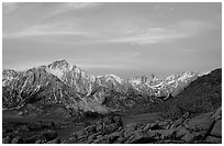 Alabama hills and Sierras, winter sunrise. Sequoia National Park, California, USA. (black and white)