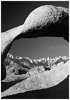 Alabama hills arch II and Sierras, early morning. Sequoia National Park ( black and white)
