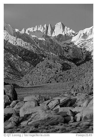 Alabama hills and Mt Whitney. Sequoia National Park (black and white)