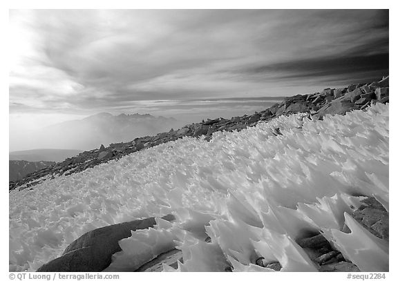 Windblown snow formations near the summit of Mt Whitney. Sequoia National Park (black and white)