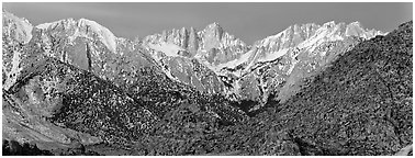 Mount Whitney at dawn. Sequoia National Park (Panoramic black and white)