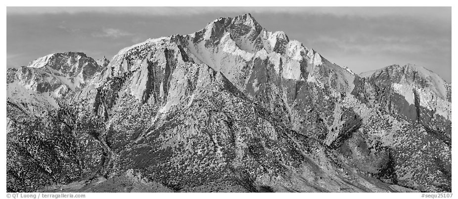 Lone Pine Peak, winter sunrise. Sequoia National Park (black and white)
