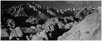 Boulders and Sierra Nevada. Sequoia National Park (Panoramic black and white)
