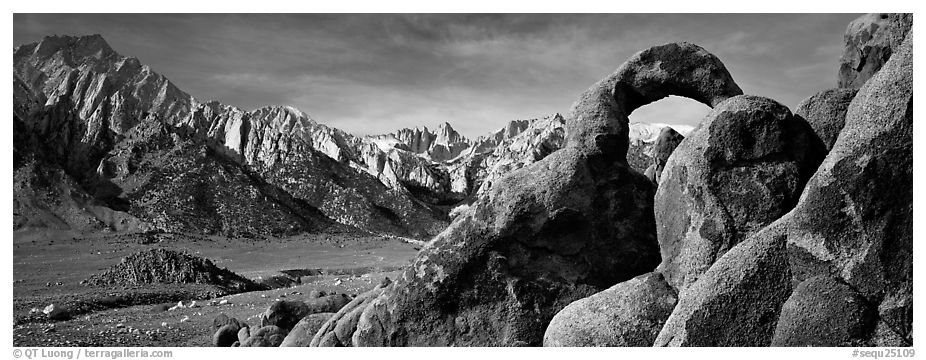 Rock Arch and Sierra Nevada range. Sequoia National Park (black and white)