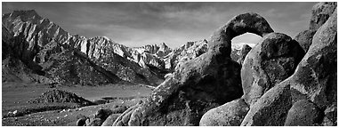 Rock Arch and Sierra Nevada range. Sequoia National Park (Panoramic black and white)