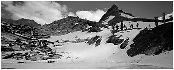 Frozen lake and neves in early summer. Sequoia National Park (Panoramic black and white)