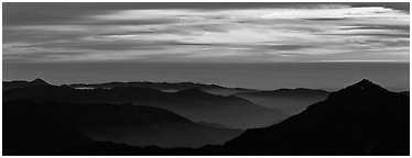Ridges and sea of clouds. Sequoia National Park (Panoramic black and white)