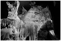 Ornate calcite stalactites, Crystal Cave. Sequoia National Park ( black and white)
