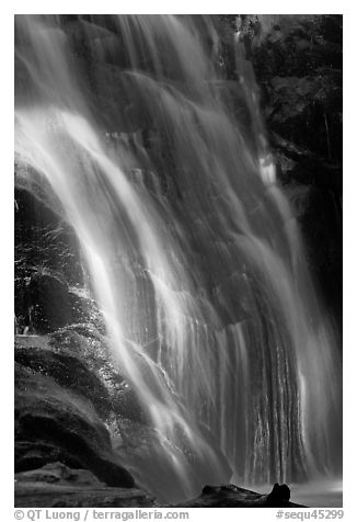 Waterfall near Crystal Cave, Cascade Creek. Sequoia National Park (black and white)