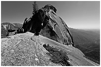 Moro Rock with hikers on path. Sequoia National Park ( black and white)