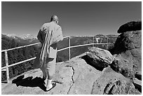 Buddhist Monk on Moro Rock. Sequoia National Park, California, USA. (black and white)