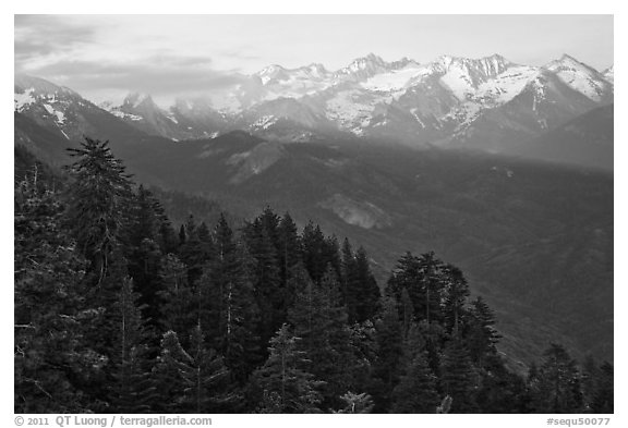Kaweah Range section of the Sierra Nevada Mountains at sunset. Sequoia National Park (black and white)