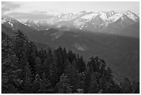 Kaweah Range section of the Sierra Nevada Mountains at sunset. Sequoia National Park ( black and white)