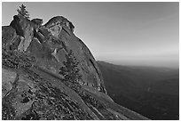 Moro Rock and Kaweah River valley at sunset. Sequoia National Park ( black and white)