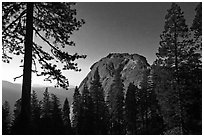 Moro Rock at night. Sequoia National Park, California, USA. (black and white)