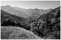 Hills and mountains in spring near Amphitheater Point. Sequoia National Park ( black and white)