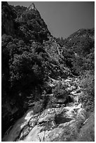 Marble fork of Kaweah River in deep canyon. Sequoia National Park ( black and white)