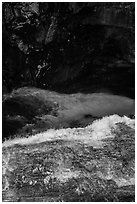 Water dropping into gorge, Marble Fall. Sequoia National Park ( black and white)