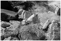 Marble rocks in Marble fork of Kaweah River. Sequoia National Park ( black and white)