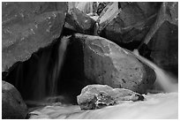 Boulders and cascades, Marble fork of Kaweah River. Sequoia National Park ( black and white)