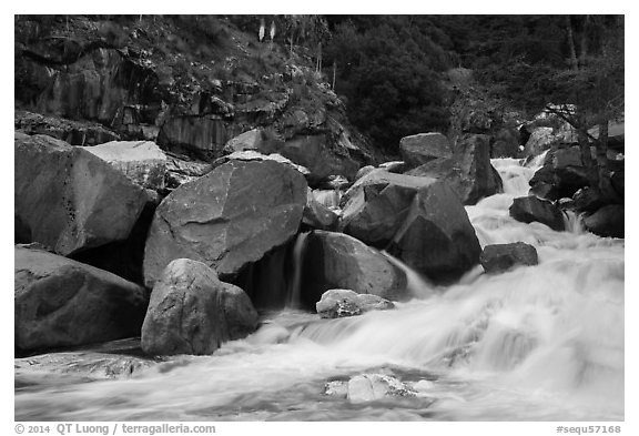 Marble fork of Kaweah River in spring. Sequoia National Park (black and white)