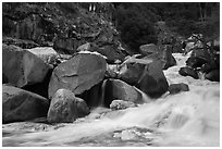 Marble fork of Kaweah River in spring. Sequoia National Park ( black and white)