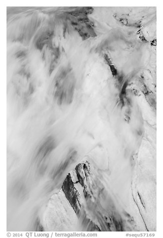 Water flowing over marble rocks. Sequoia National Park (black and white)