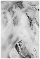 Water flowing over marble rocks. Sequoia National Park ( black and white)