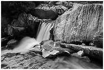 Cascade in Marble falls of Kaweah River. Sequoia National Park ( black and white)
