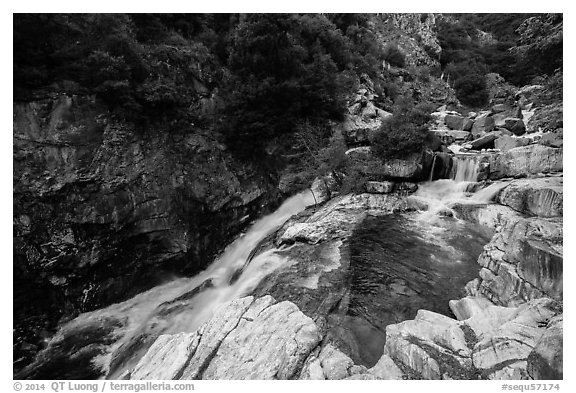 Marble fork of Kaweah River pools and cascades. Sequoia National Park (black and white)