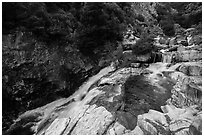 Marble fork of Kaweah River pools and cascades. Sequoia National Park ( black and white)