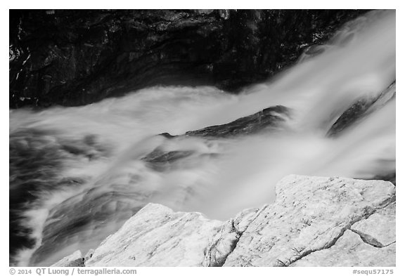Marble rocks and water cascade. Sequoia National Park (black and white)