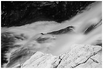 Marble rocks and water cascade. Sequoia National Park ( black and white)